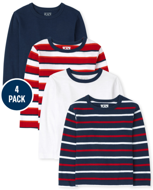 Baby And Toddler Boys Long Sleeve Striped Top 4-Pack