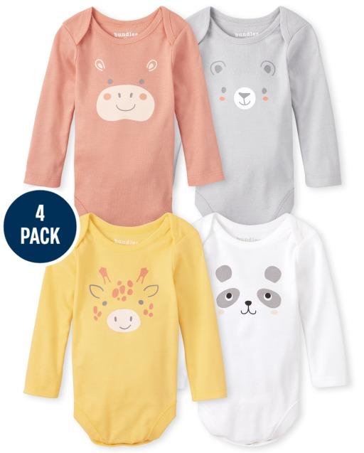 Unisex Baby Long Sleeve Animal Bodysuit 4-Pack