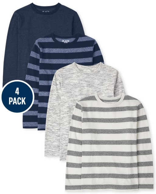 Boys Long Sleeve Striped And Marled Top 4-Pack