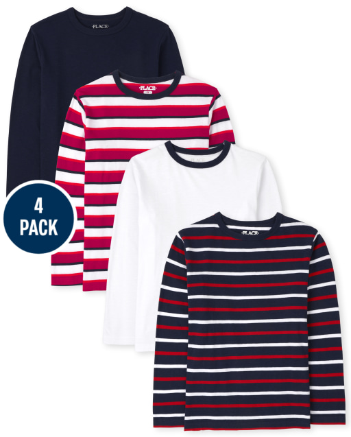 Boys Long Sleeve Solid And Striped Top 4-Pack