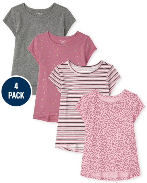 Pack de 4 blusas estampadas de manga corta para niñas