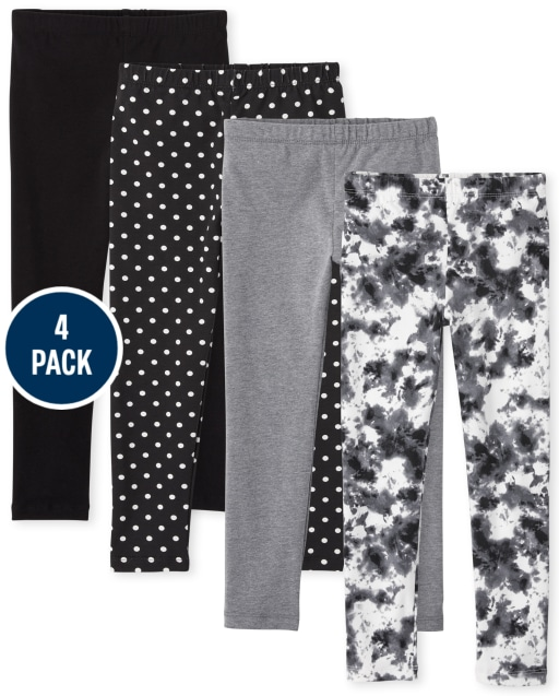 Pack de 4 leggings de punto estampados para niñas