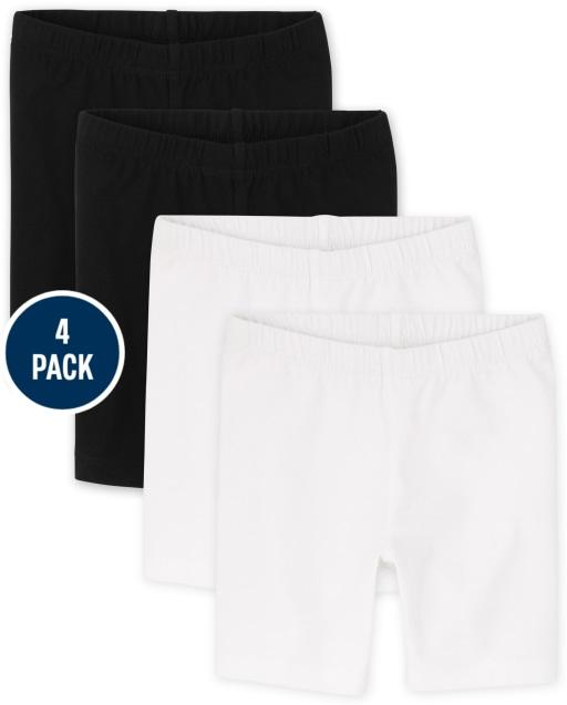 Paquete de 4 pantalones cortos de bicicleta de punto mezcla y combinación para bebés y niñas pequeñas
