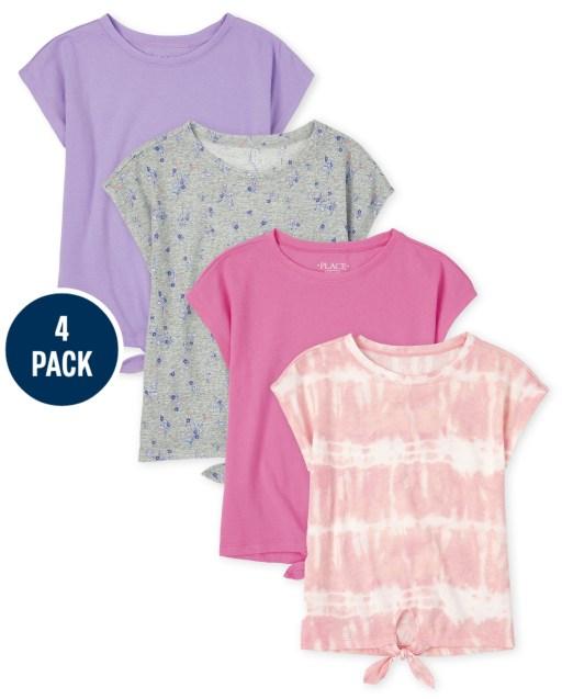Pack de 4 camisetas básicas de manga corta con lazo en la parte delantera para niñas