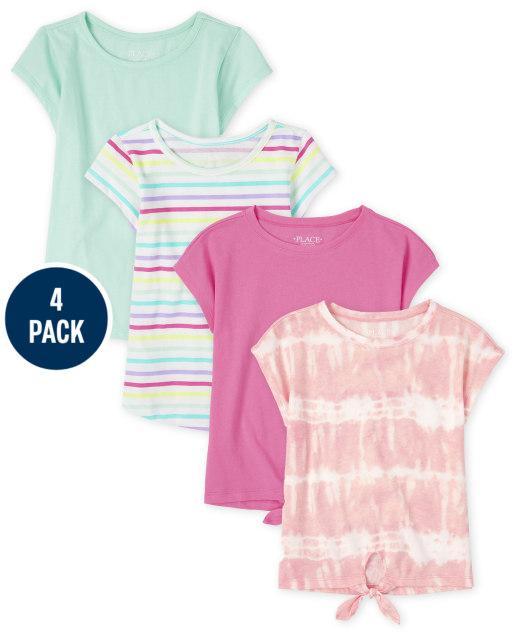 Pack de 4 camisetas básicas de manga corta y con lazo en la parte delantera para niñas