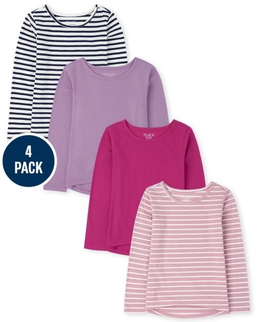 Paquete de 4 camisetas básicas de manga larga para niñas