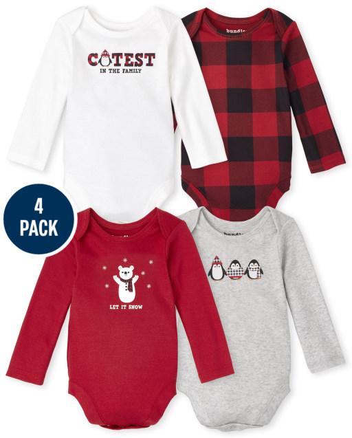 Unisex Baby Long Sleeve Buffalo Plaid Bodysuit 4-Pack