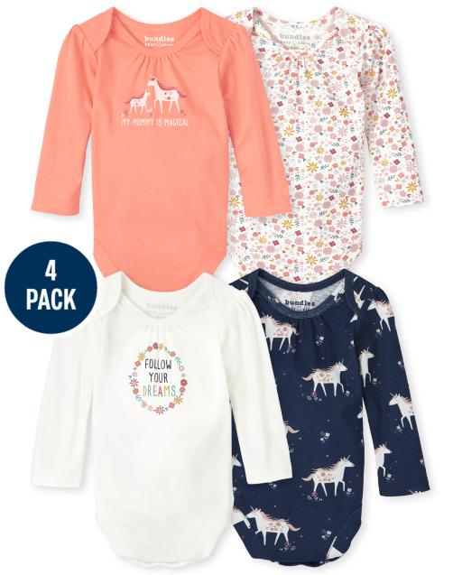 Baby Girls Long Sleeve Unicorn Bodysuit 4-Pack