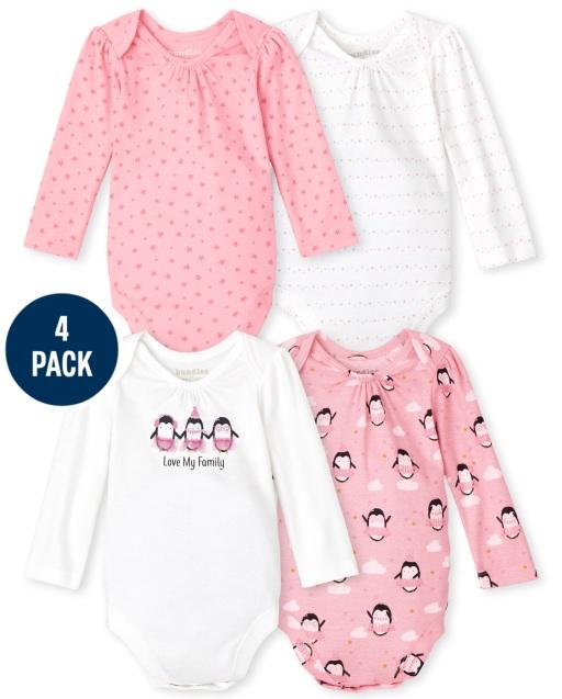 Baby Girls Long Sleeve Penguin Bodysuit 4-Pack