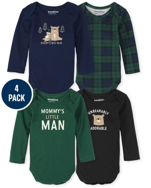 Baby Boys Long Sleeve Bear Plaid Bodysuit 4-Pack