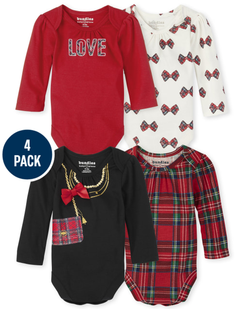 Baby Girls Long Sleeve Plaid Bodysuit 4-Pack