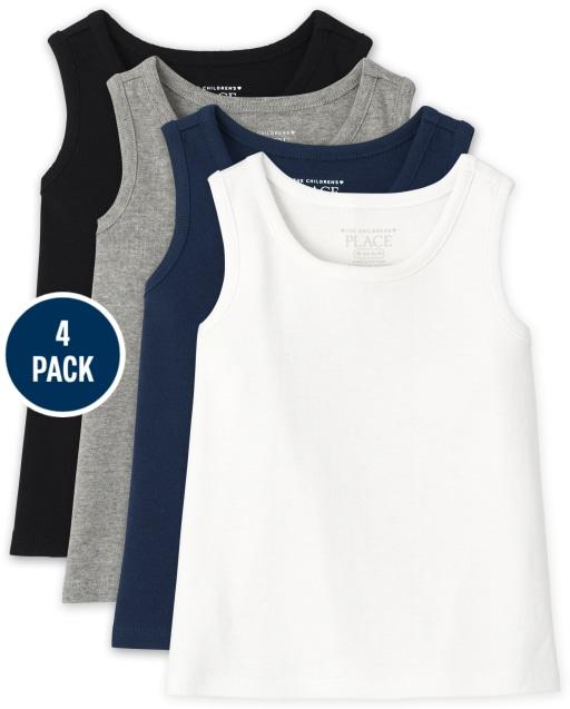 Pack de 4 camisetas sin mangas acanaladas sin mangas para bebés y niñas pequeñas