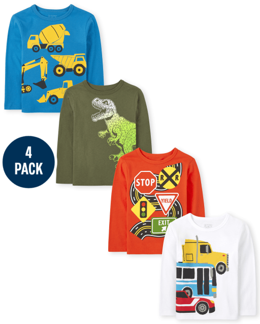Toddler Boys Long Sleeve Dino and Vehicle Graphic Tee 4-Pack