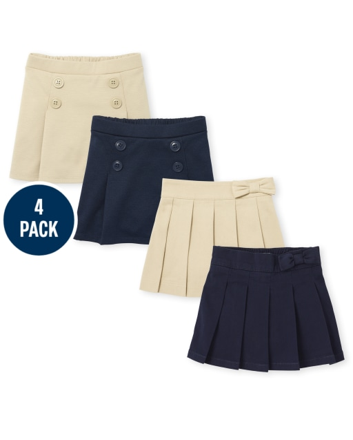 Toddler Girls Uniform Stretch Ponte Knit Button Skort And Woven Stretch Bow Pleated Pull On Skort 4-Pack