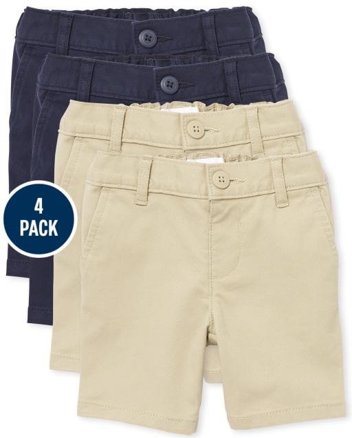 Toddler Girls Uniform Woven Stretch Chino Shorts 4-Pack