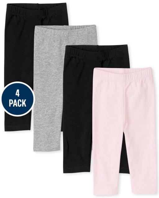 Paquete de 4 leggings capri para niñas pequeñas