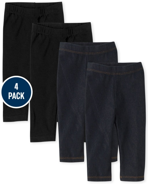 Leggings capri para niñas pequeñas y leggings capri de mezclilla sintética, paquete de 4