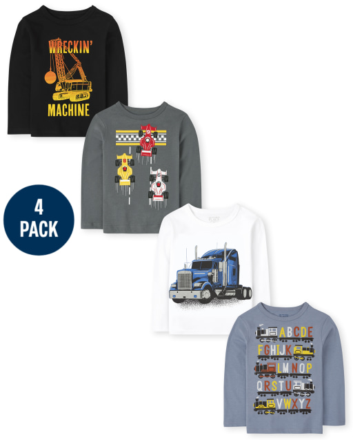 Toddler Boys Long Sleeve Vehicle Graphic Tee 4-Pack