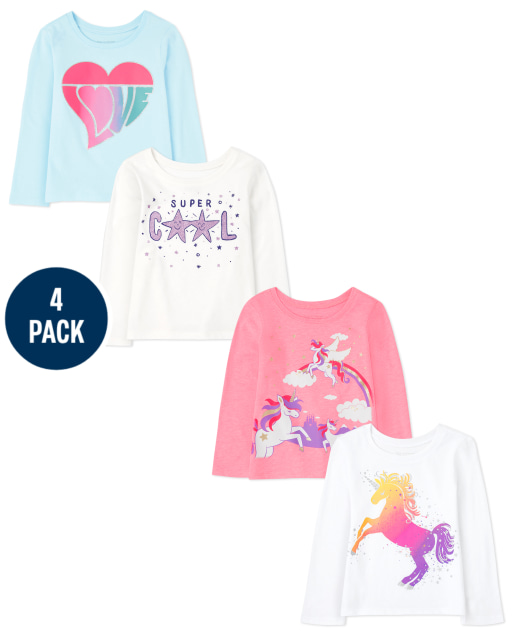 Toddler Girls Long Sleeve Unicorn And Love Graphic Tee 4-Pack