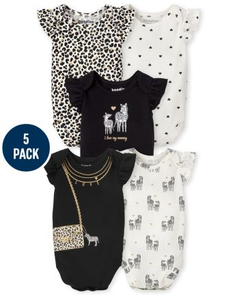 Baby Girls Animal Bodysuit 5-Pack