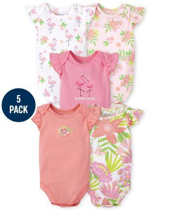 Baby Girls Tropical Bodysuit 5-Pack
