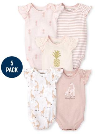 Baby Girls Pineapple Giraffe Bodysuit 5-Pack