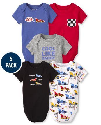 Baby Boys Race Car Bodysuit 5-Pack