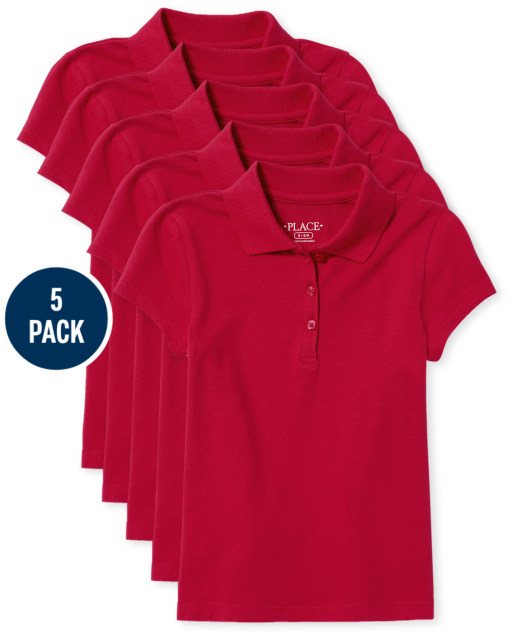 Pack includes 5 short sleeve pique polos