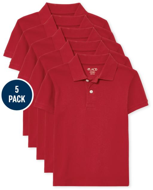 Boys Uniform Short Sleeve Pique Polo 5-Pack