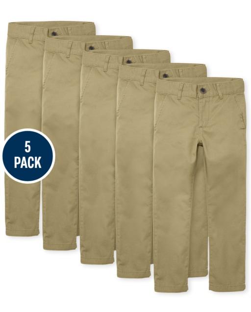 Boys Uniform Woven Skinny Chino Pants 5-Pack