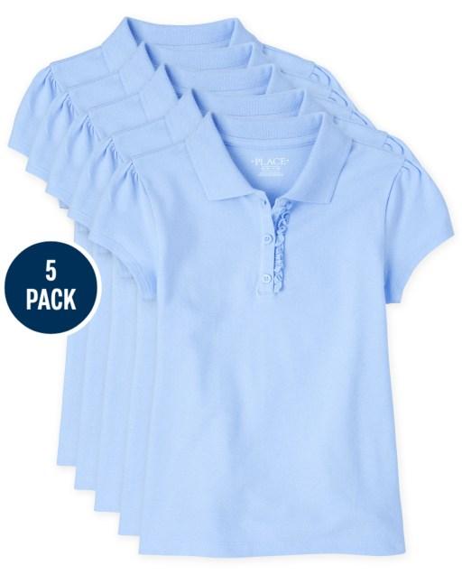 Girls Uniform Short Sleeve Ruffle Pique Polo 5-Pack