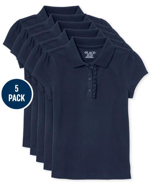 Conjunto de 5 polos de piqué de uniforme con volantes para niñas