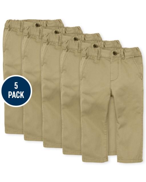 Toddler Boys Uniform Woven Skinny Chino Pants 5-Pack