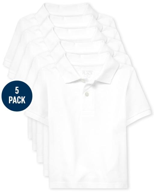 Toddler Boys Uniform Short Sleeve Pique Polo 5-Pack