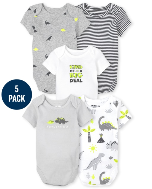 Baby Boys Short Sleeve Dino Bodysuit 5-Pack