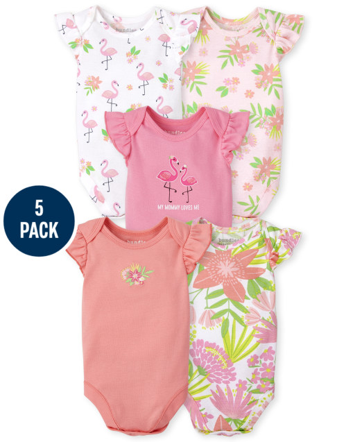 Baby Girls Short Ruffle Sleeve Tropical Bodysuit 5-Pack