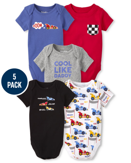 Baby Boys Short Sleeve Race Car Bodysuit 5-Pack