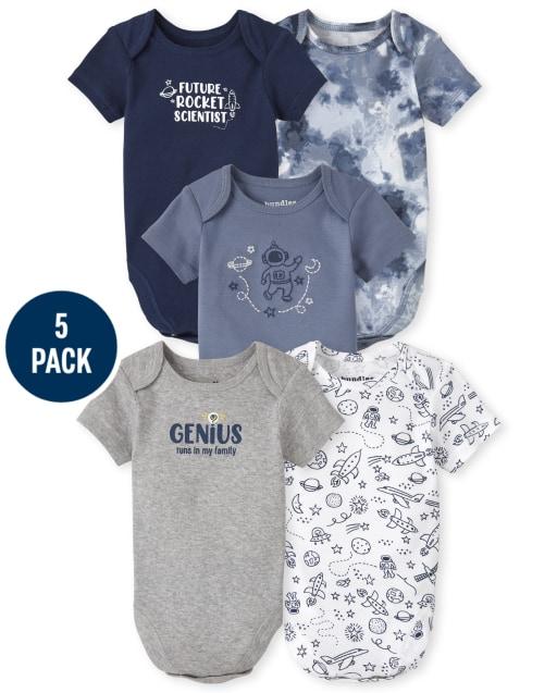 Baby Boys Short Sleeve Genius Bodysuit 5-Pack