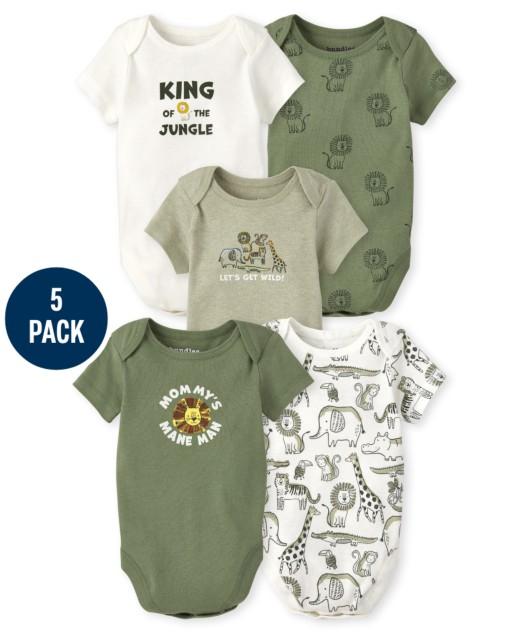 Baby Boys Short Sleeve Safari Bodysuit 5-Pack