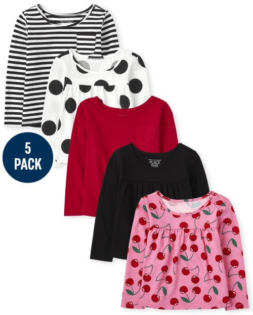 Toddler Girls Long Sleeve Print Top 5-Pack