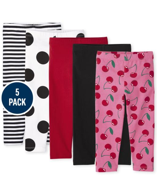 Toddler Girls Print Knit Leggings 5-Pack