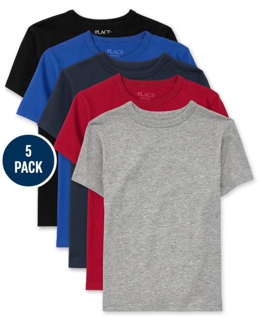 Boys Uniform Short Sleeve Basic Layering Tee 5-Pack