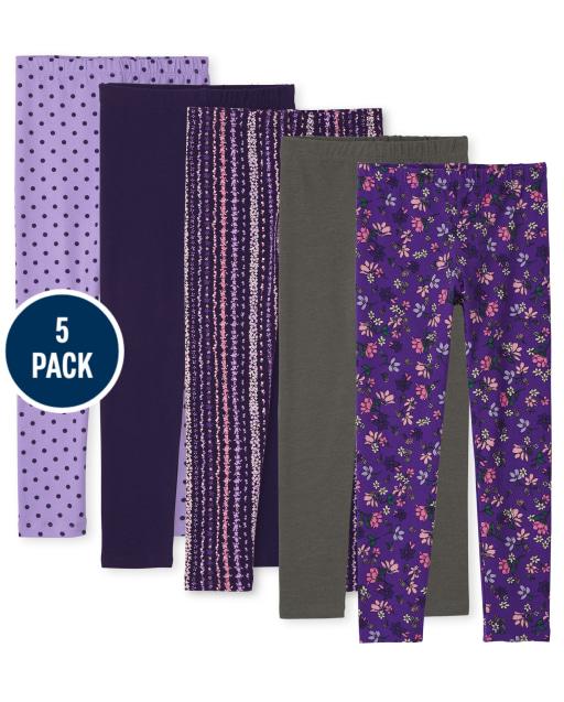 Girls Print Knit Leggings 5-Pack