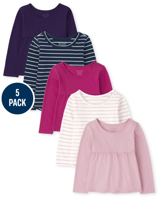 Toddler Girls Long Sleeve Basic Layering Tee And Empire Top 5-Pack