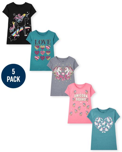 Girls Short Sleeve Unicorn and Love Graphic Tee 5-Pack