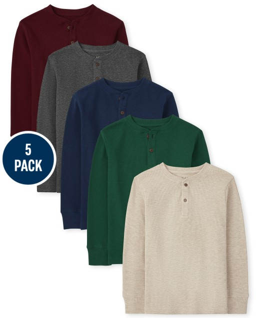 Boys Long Sleeve Thermal Henley Top 5-Pack