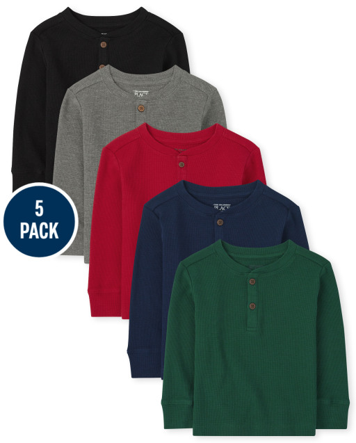 Toddler Boys Long Sleeve Thermal Henley Top 5-Pack