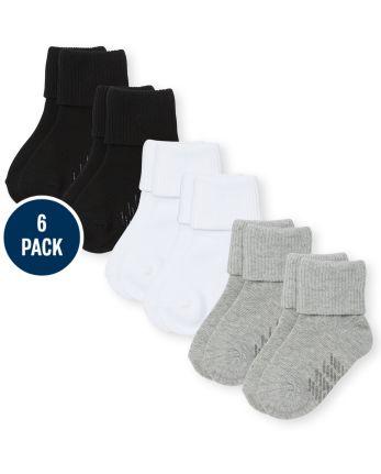 Paquete de 6 pares de calcetines unisex de triple rollo para bebés y niños pequeños