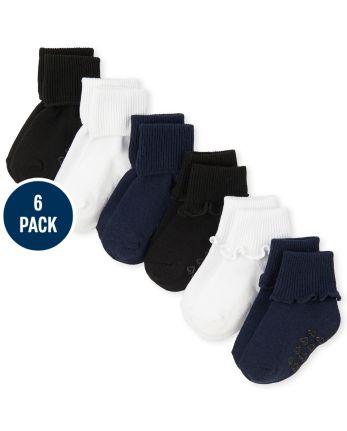 Paquete de 6 pares de calcetines con puños giratorios con volantes y uniforme para niñas pequeñas