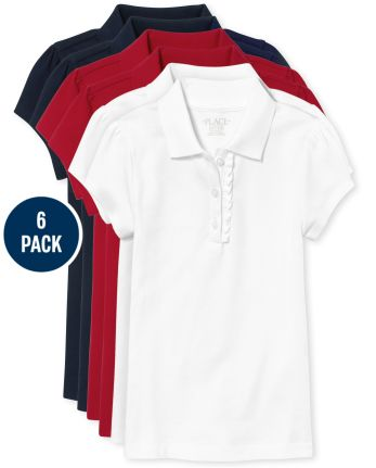 Girls Uniform Ruffle Pique Polo 6-Pack